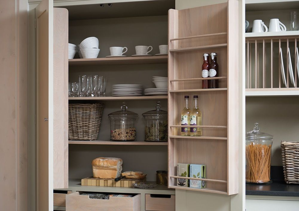 Universal wooden cabinet with plenty of shelves