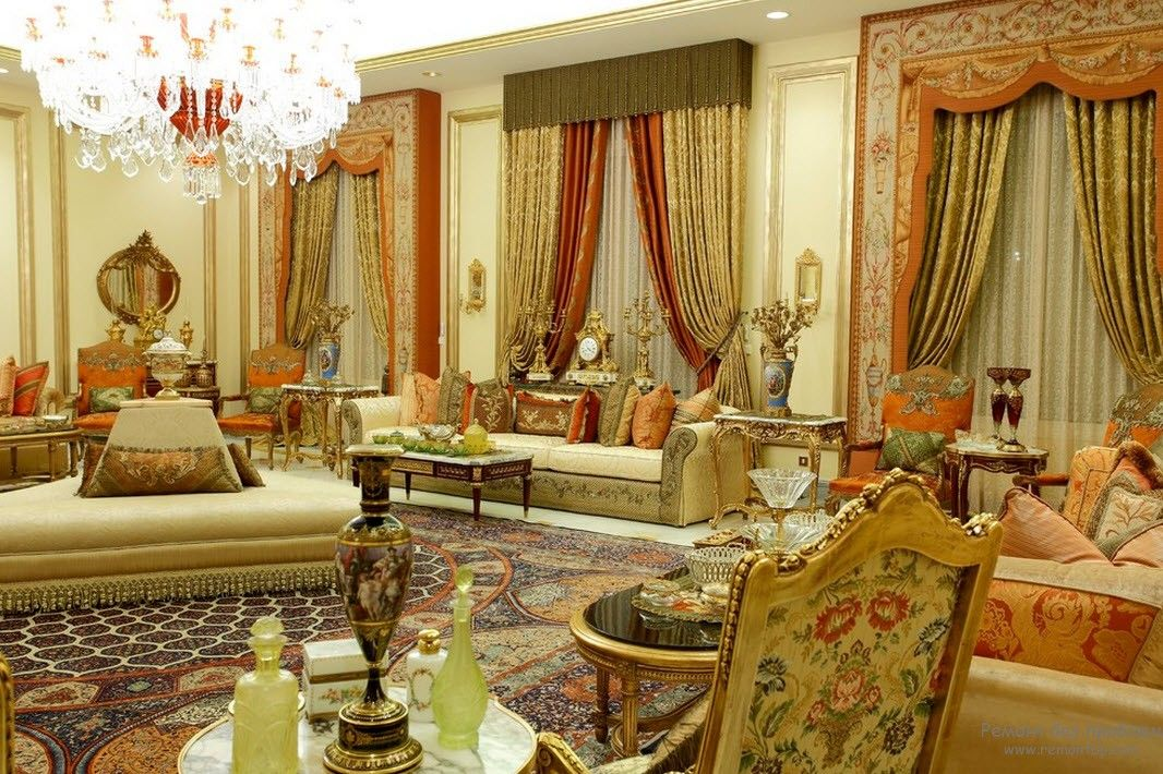 Classic designed living room full of ornaments and decorative elements
