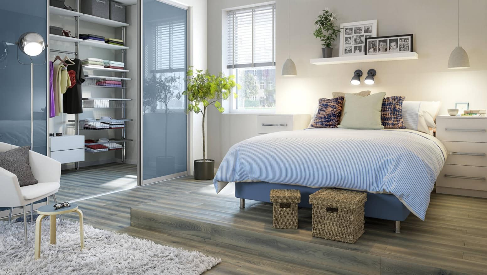 Tender blue bed linen and the glass zoning for Casual style