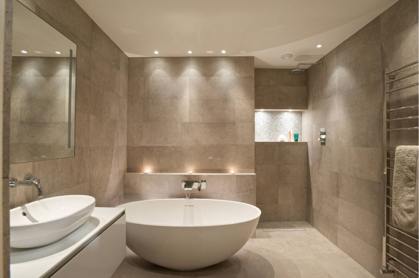 Gray idyll in minimalistic bathroom with Oriental touch
