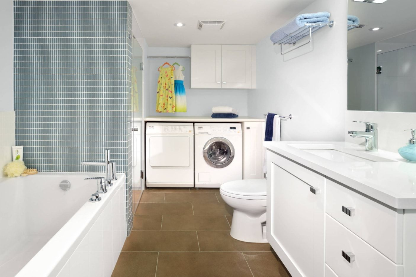 Multifunctional classic designed bathroom with built-in laundry
