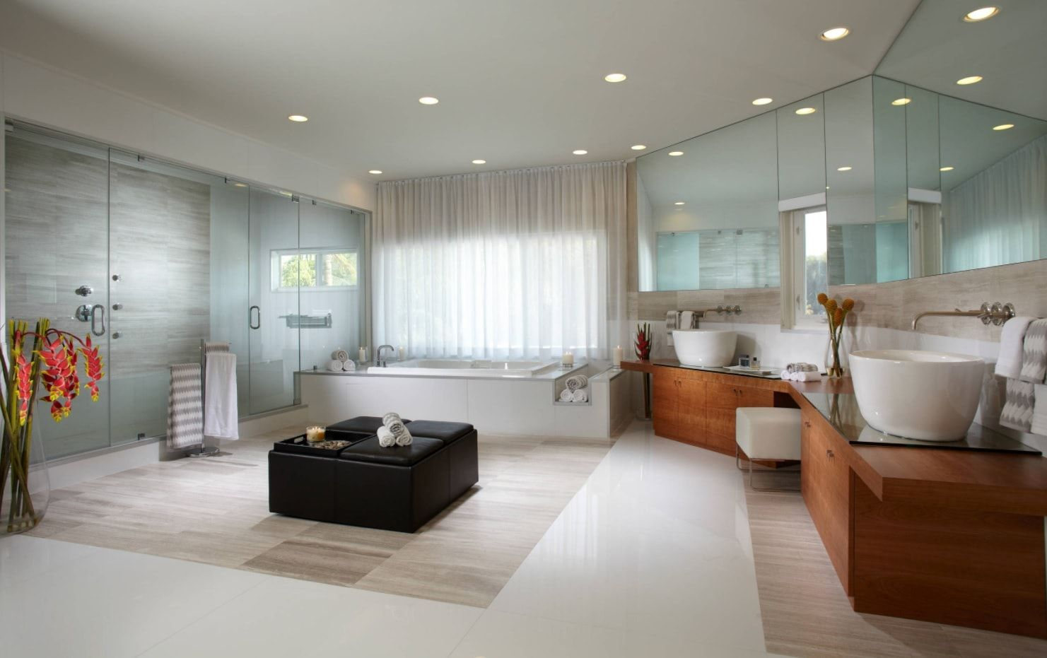 Large Contemporary designed bathroom in white and gray combination