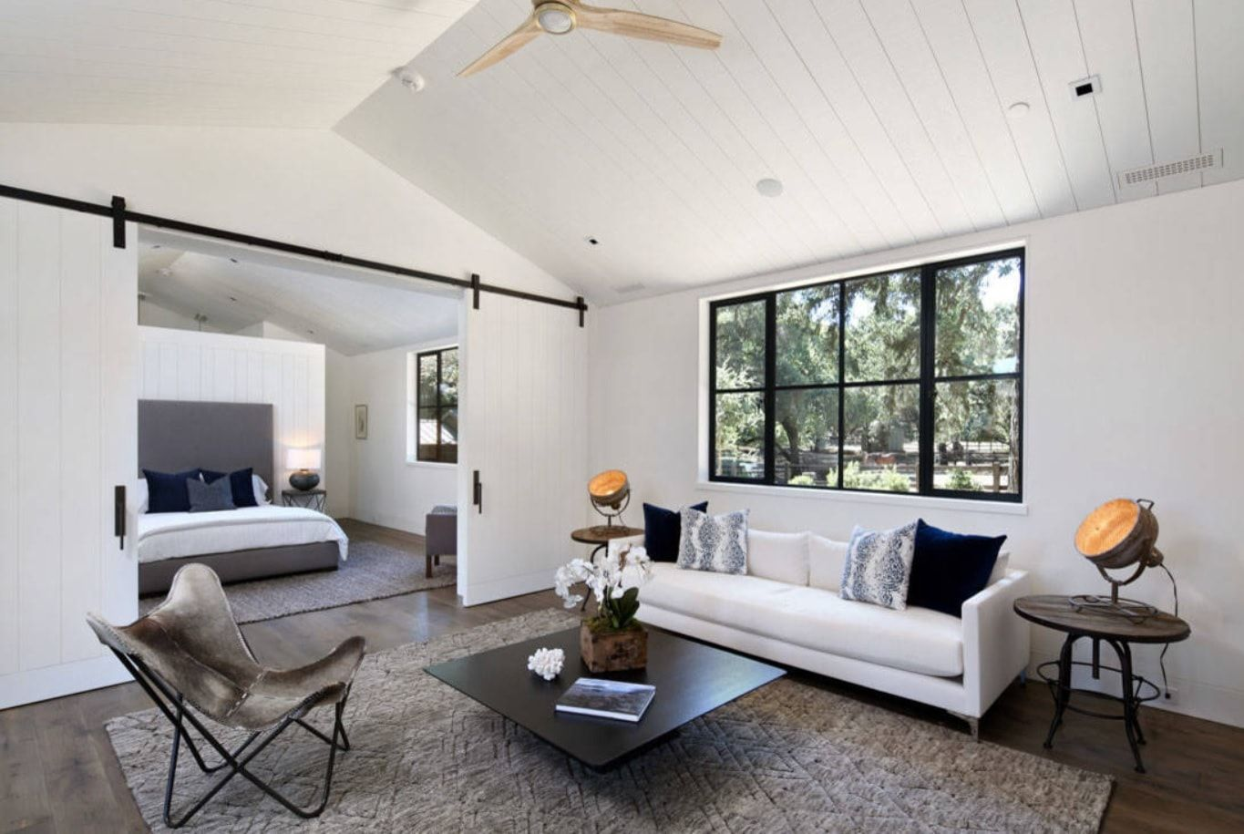 White interior with black accents
