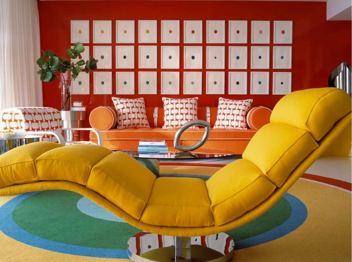 Functional Sitting Room Interior Design Photo Examples. Sectional yellow relaxing chair in the unexpectedly styled red sitting room