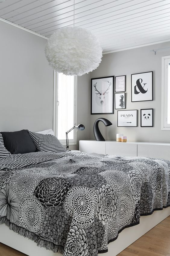 Gray Casual atmosphere in the small bedroom with white modular storage set