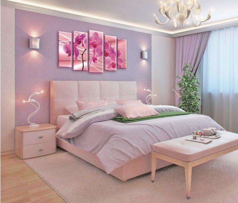 Women bedroom idyll with pink floral picture composition at the headboard