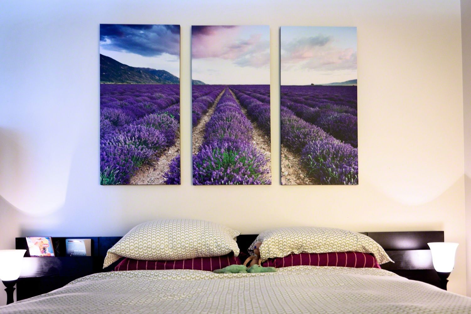 Lilac blossoming field on three pictures