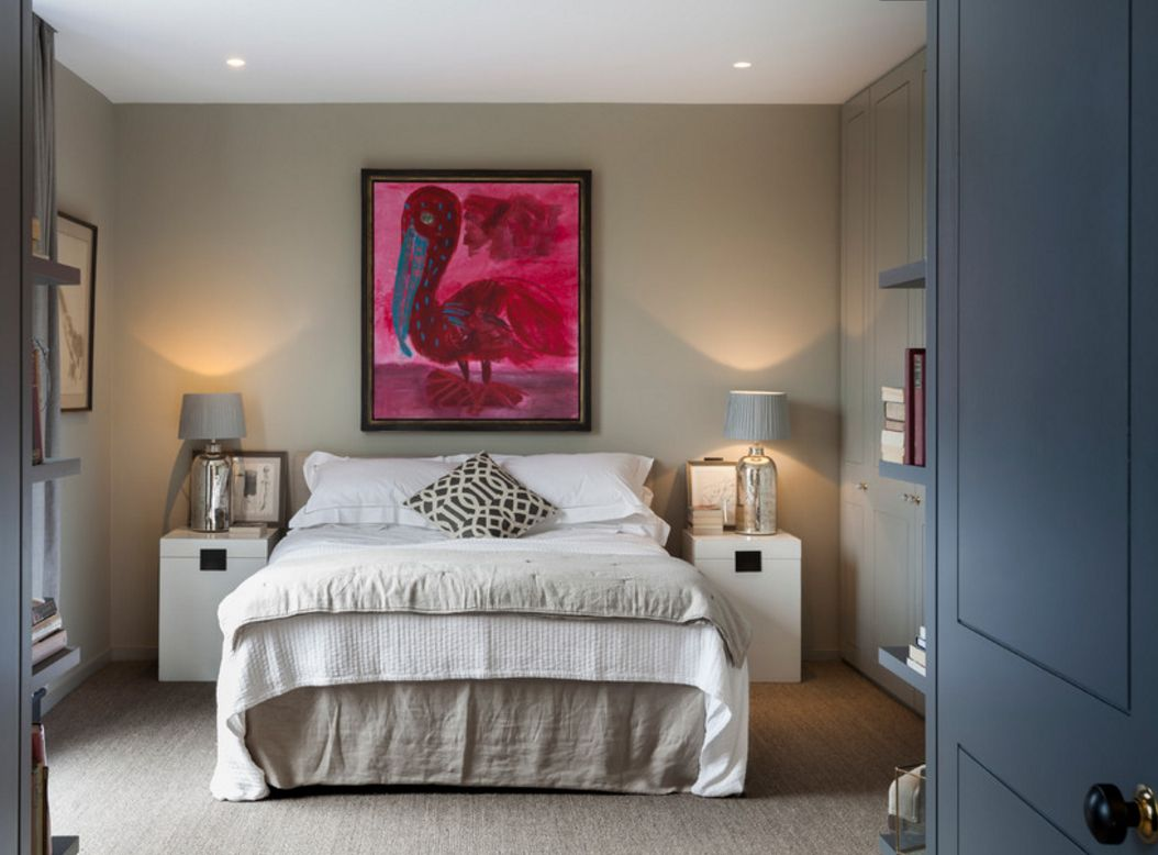 Bright pink drawing for the cozy gray color designed bedroom