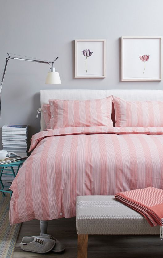 Crimson striped coverlet and pillows for the Classic styled bedroom
