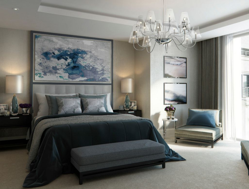 Large Classic styled master bedroom with blue color decorations