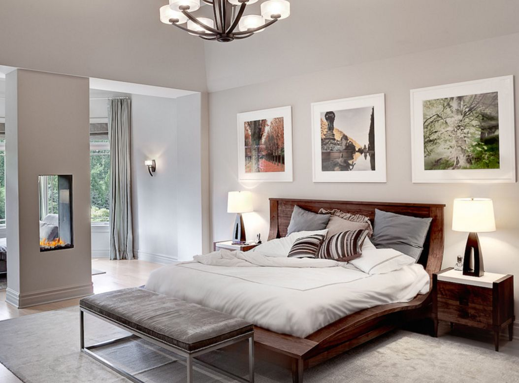 Cute modernity in the bedroom with beige platform bed