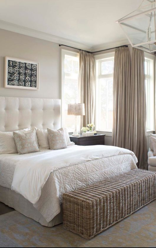 Classic cute design in the large bedroom with coffee with milk colored curtains