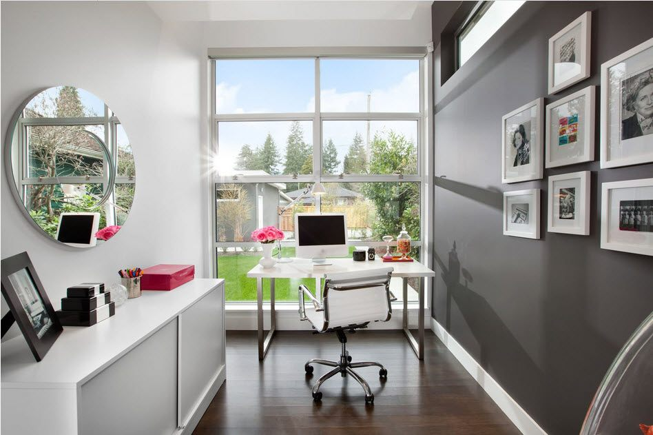 Home office with the armchair on metal frame