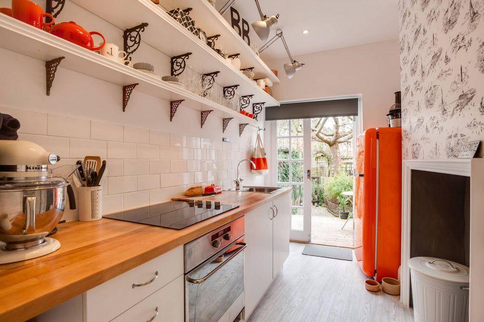 Orange contrasting refrigerator for the contemporary cottage interior
