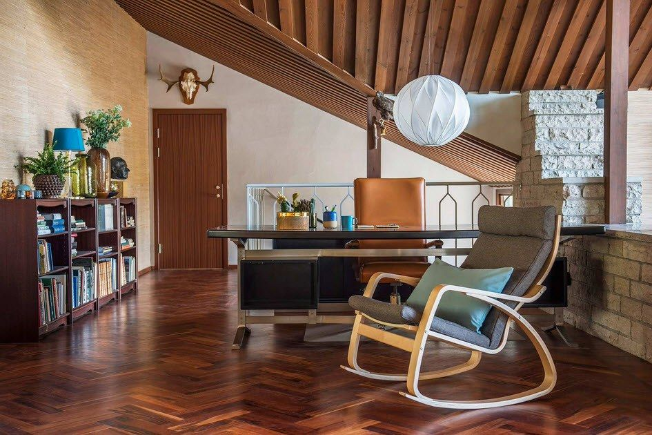 Poang armchair in the interior of private house in loft style