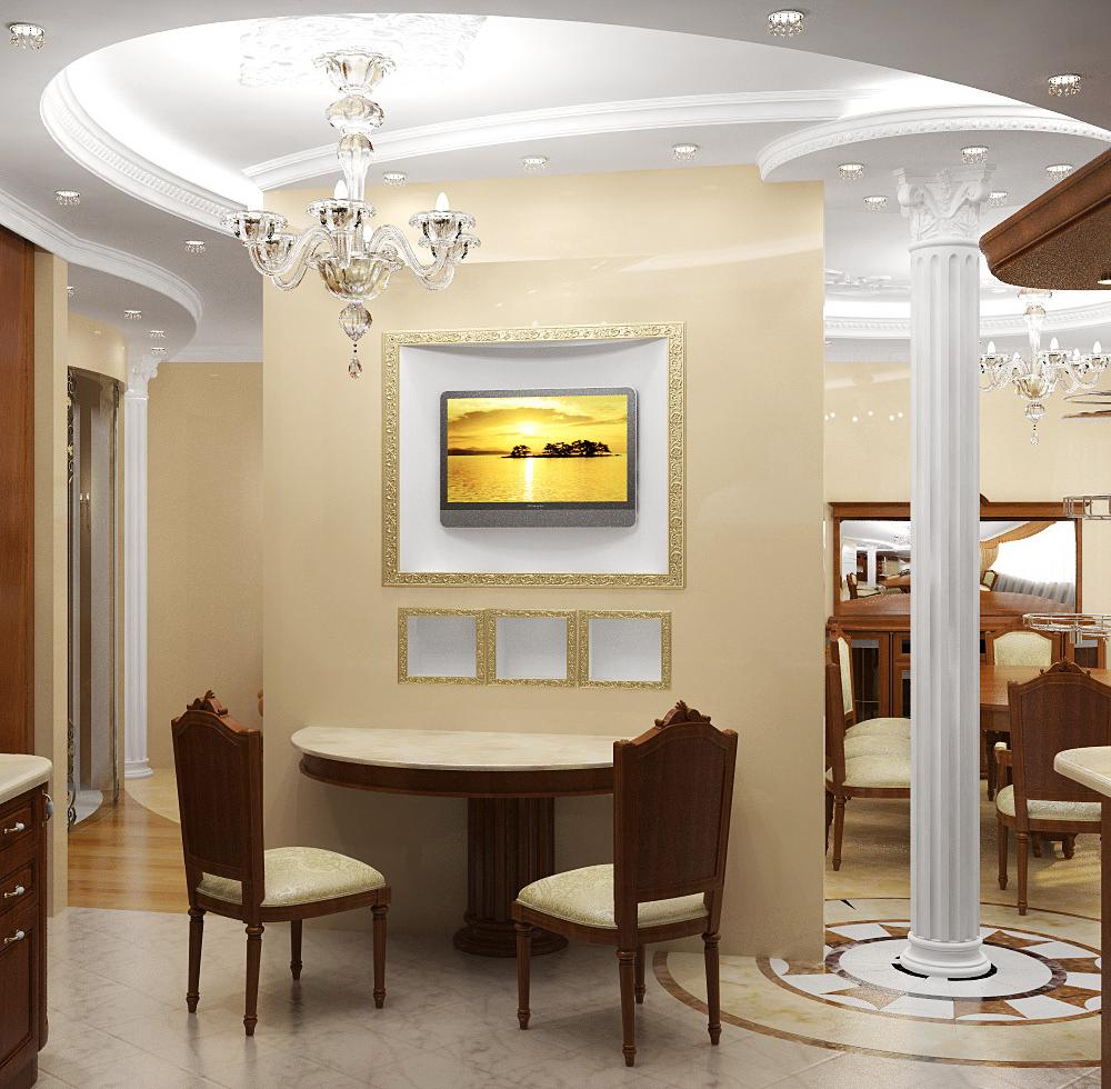 Polyurethane moldings in the form of semicircle at the ceiling of Classic styled dining zone