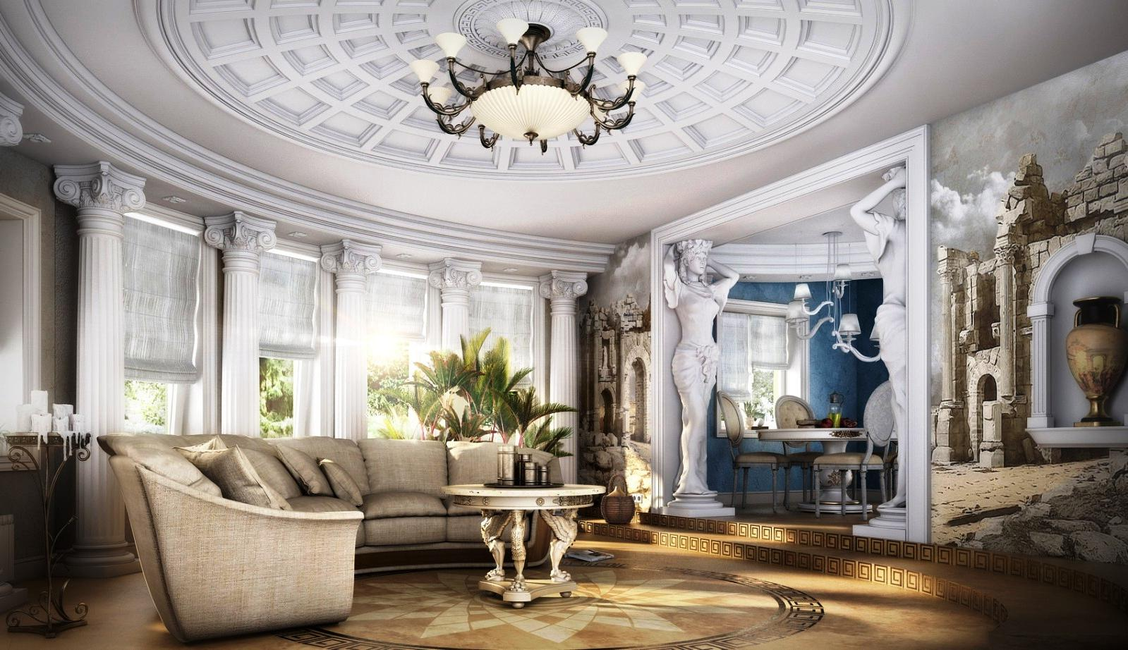 Grandeur design for the Classic styled room with antique statues