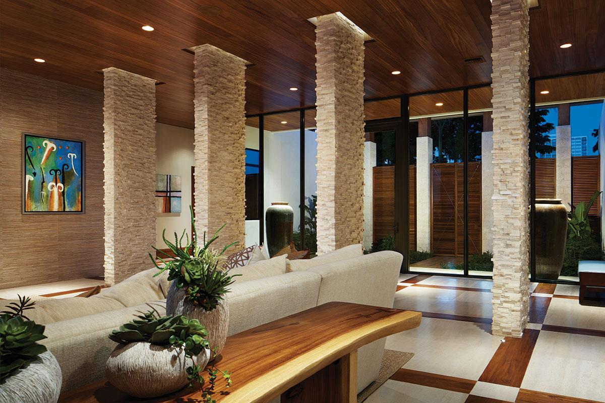 Contemporary style in brown color theme with light columns