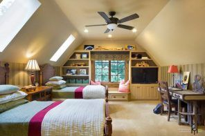 Nice ceiling architecture and successful modern design in the loft bedroom