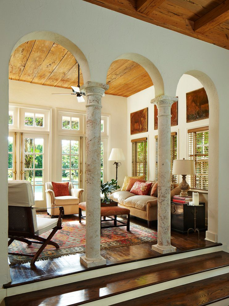 Arab enfilade of columns in the Mediterranean styled house