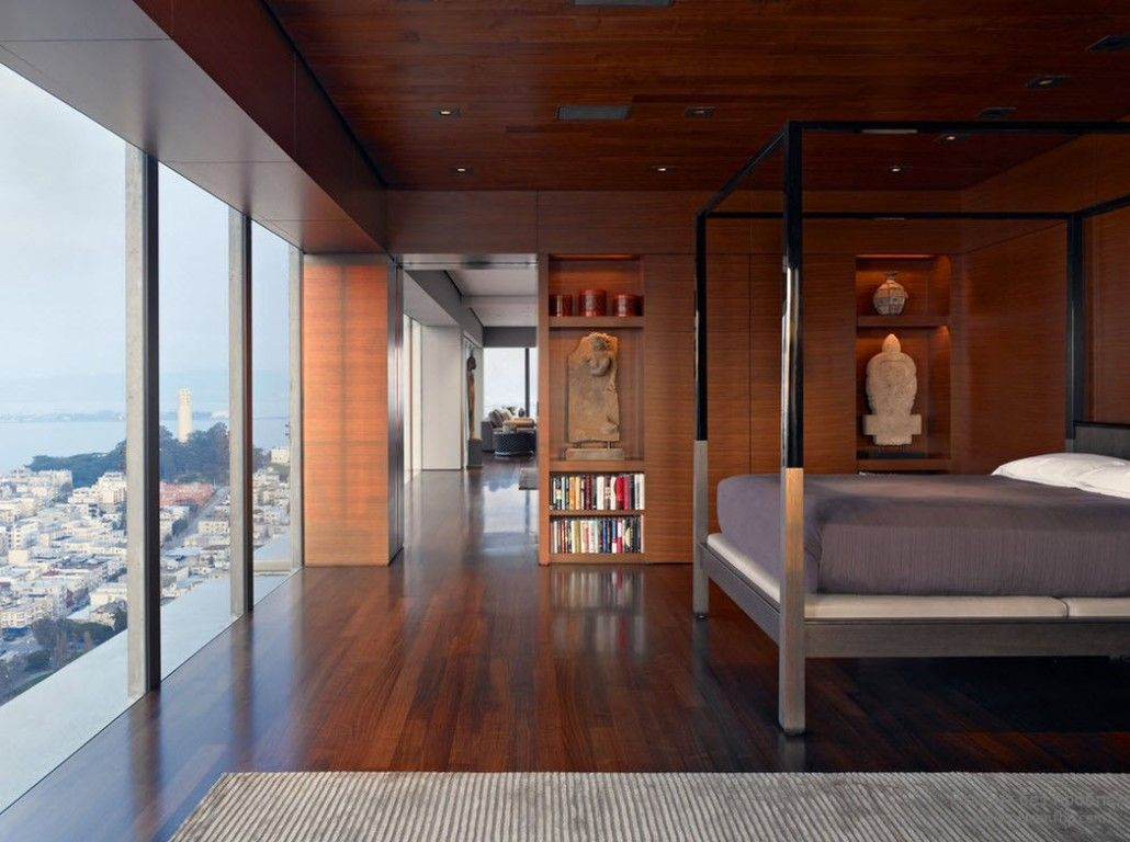 Panoramic windows and open shelves for wooden trimmed apartment