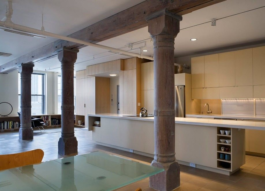 Concrete columns for the contemporary room