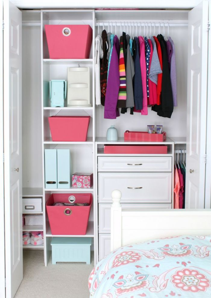 Colorful boxes in the closet