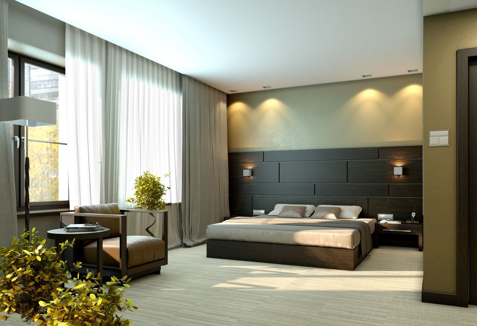 Contemporary fresh bedroom design with thorough additional lighting of the bed