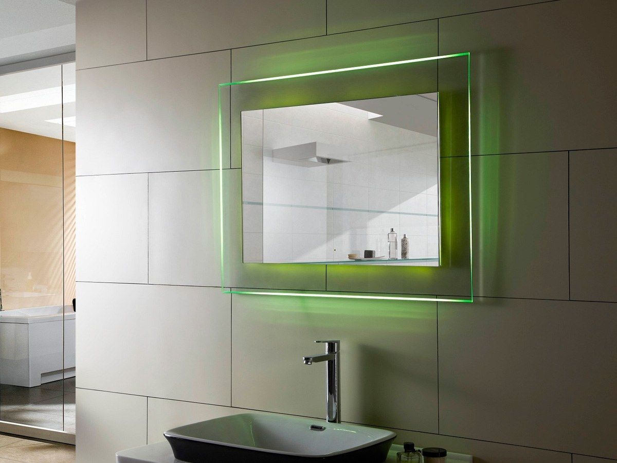 Green backlight of the mirror in the bathroom