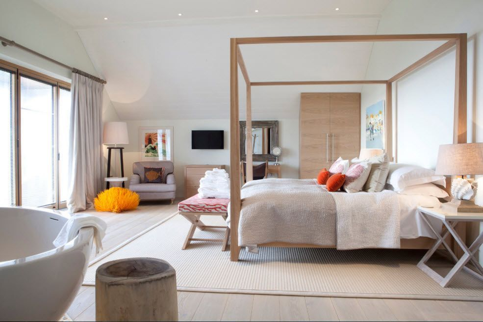 Great example of contemporary style with canopy bed in the bedroom