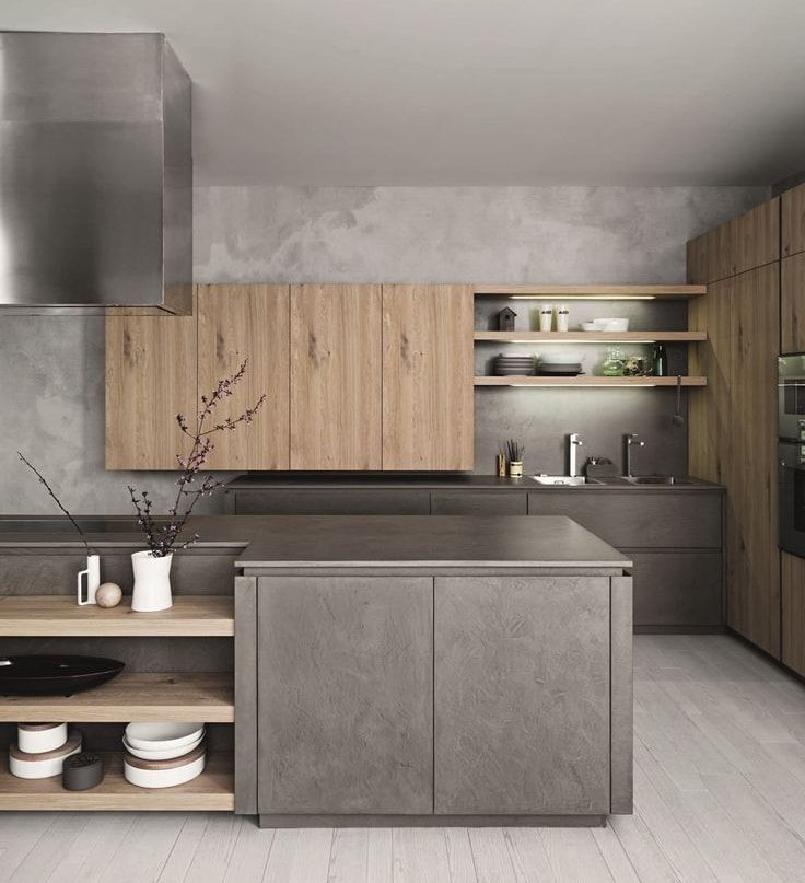 Splendid combination of wood and concrete at the industrial kitchen