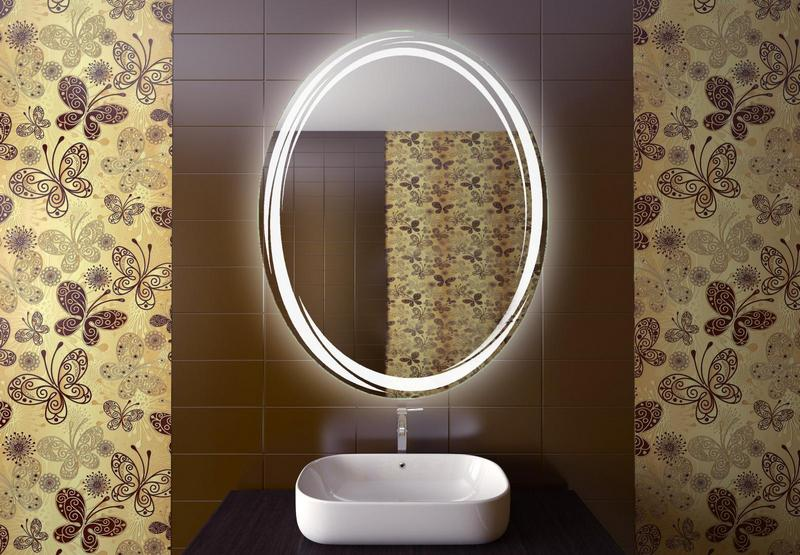 Circle bathroom mirror with LED backlight