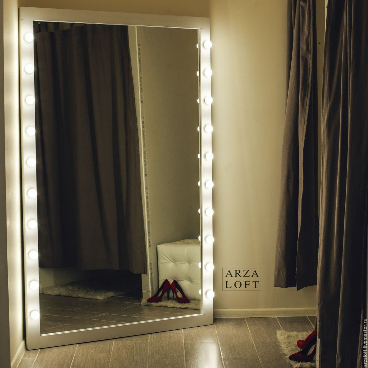 LED mirror backlight in the dressing room with shut windows