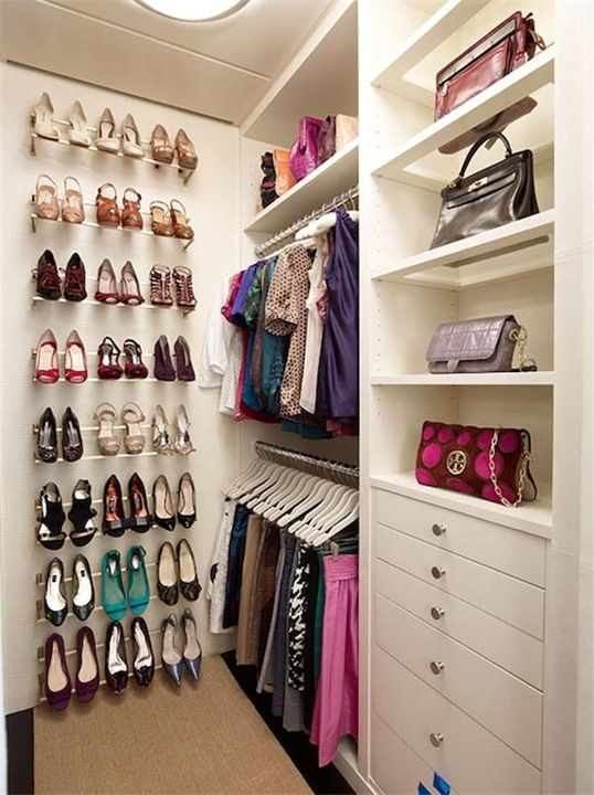 Women's neat wardrobe with everything in place