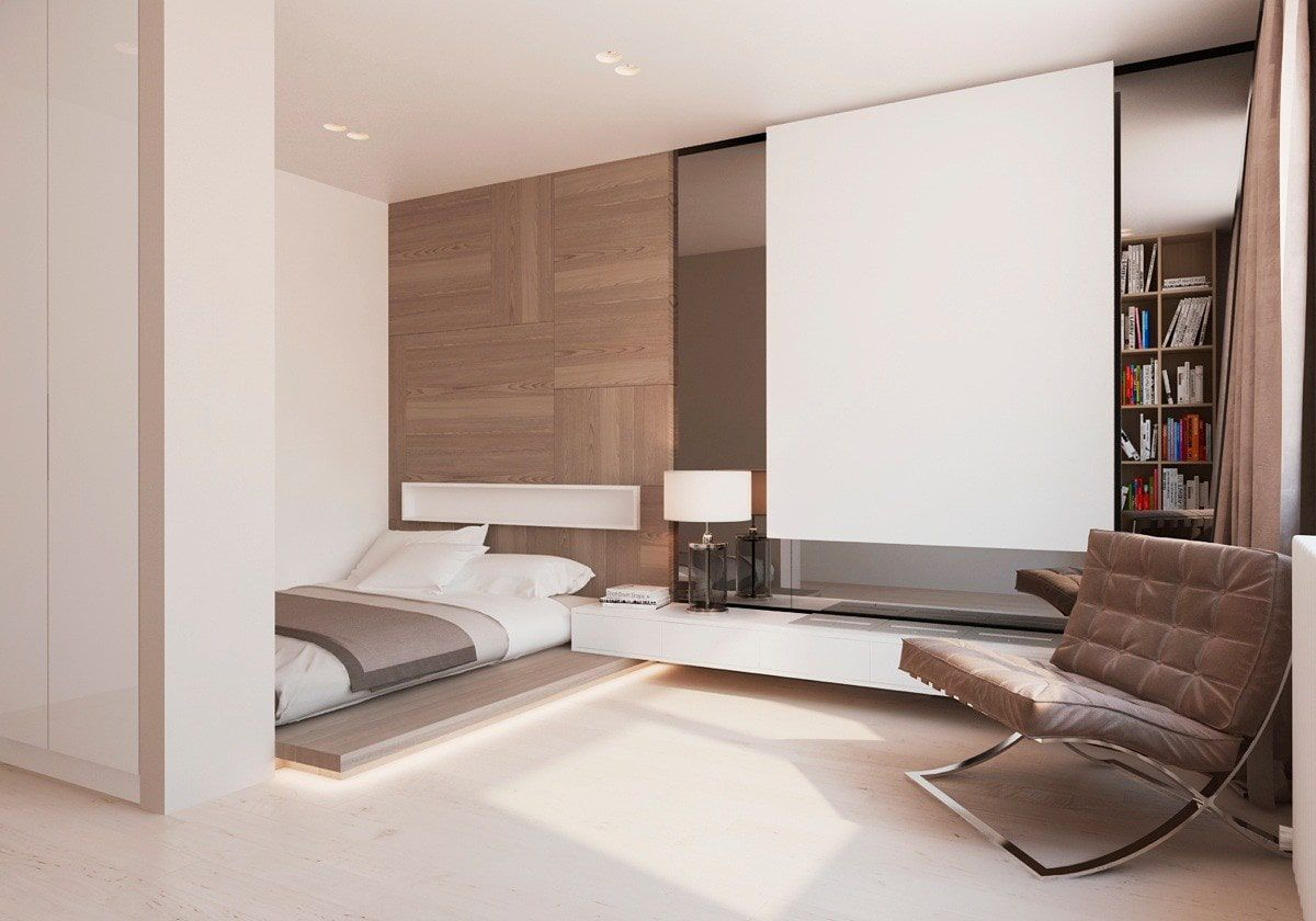 Ultramodern design of the large bedroom with wooden facades