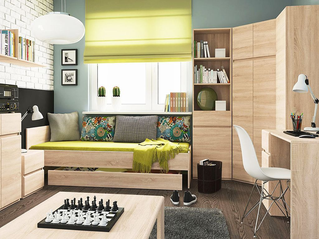 Lime curtains and coverlet in the modern designed living zone