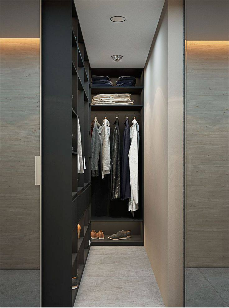 Contemporary dressing room built into the bedroom