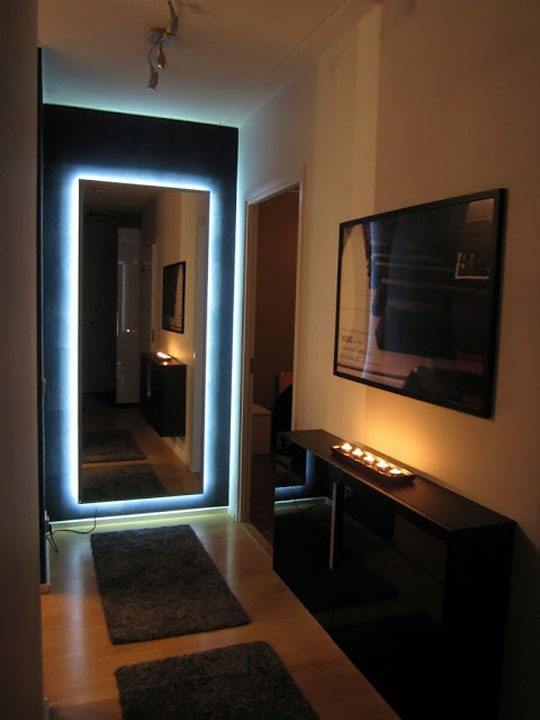 Spectacular neon backlight of the large mirror