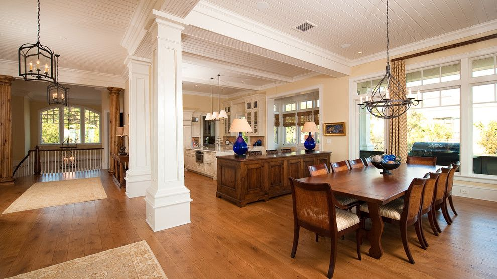 Classic design in the large cottage with wooden floor