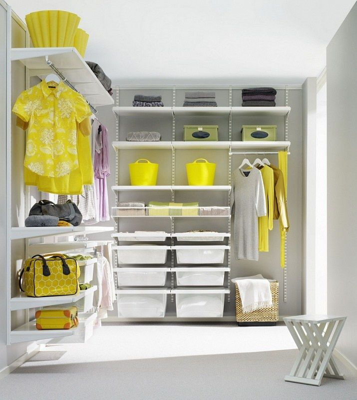 Yellow elements to dilute white idyll in the white decorated wardrobe