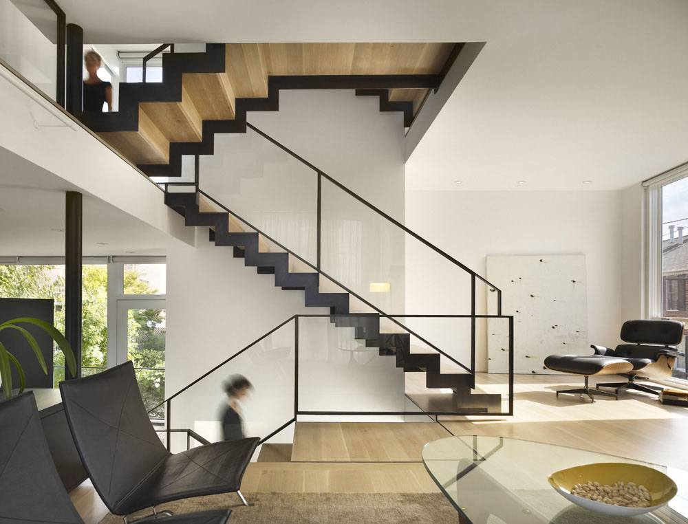 Raw treated wood for stairs in the modern house