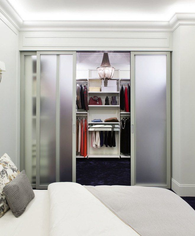 Modern frosted glass cabinet with sliding doors
