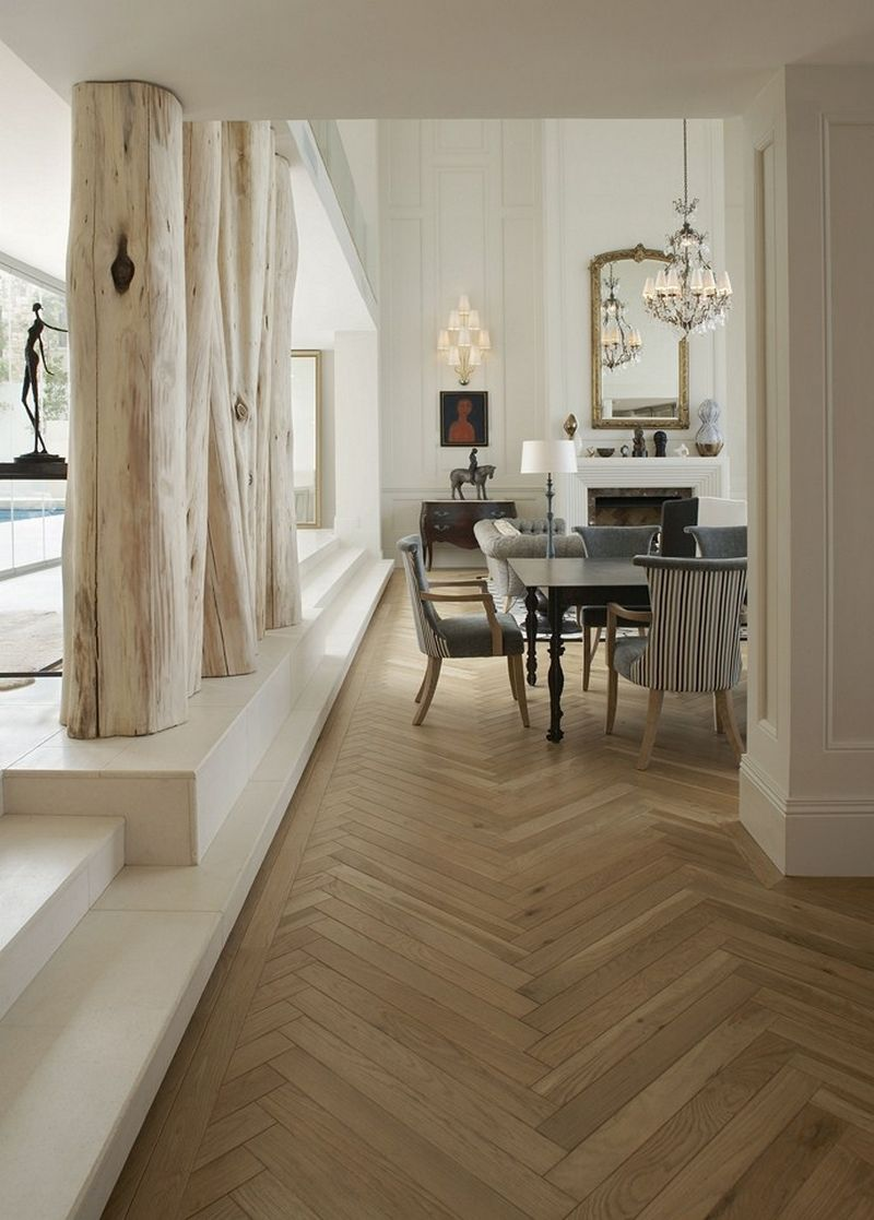 Gorgeous oak laminate in the rich modern apartment
