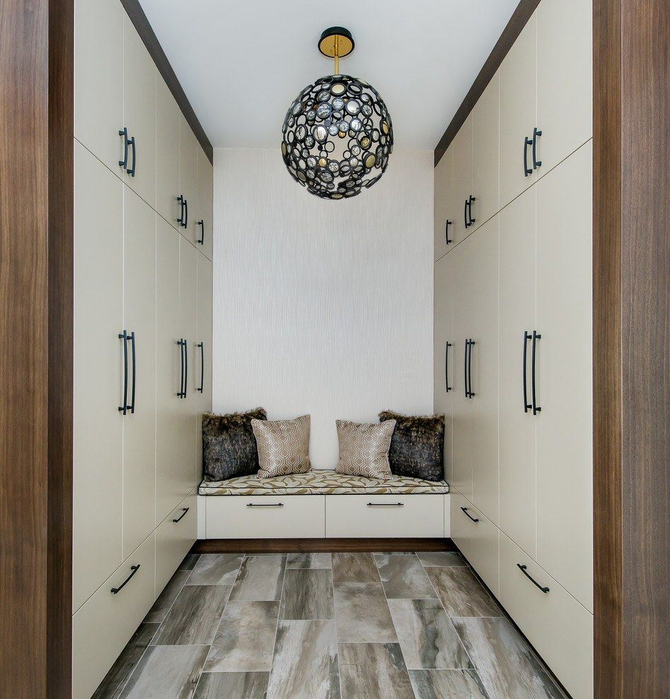 Unusual closed wardrobe with seating place