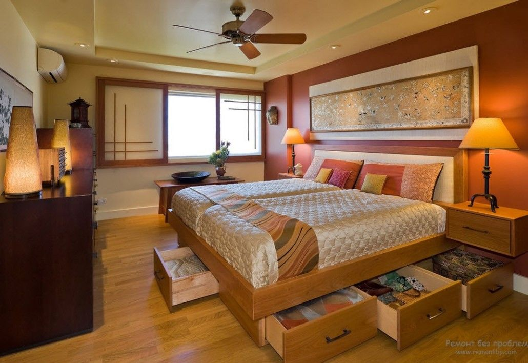 Low bed with storage is nice solution for modern bedrooms