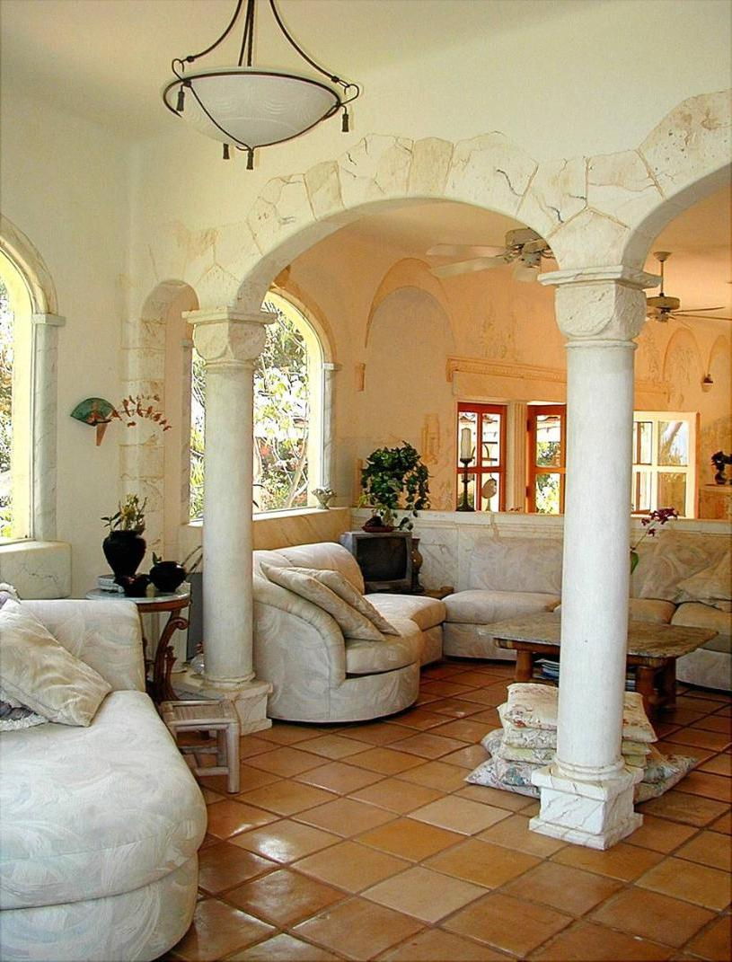 Classic interior with chic column-based arch