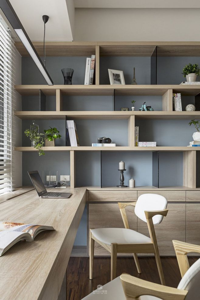 Home office with wooden furniture and shelving