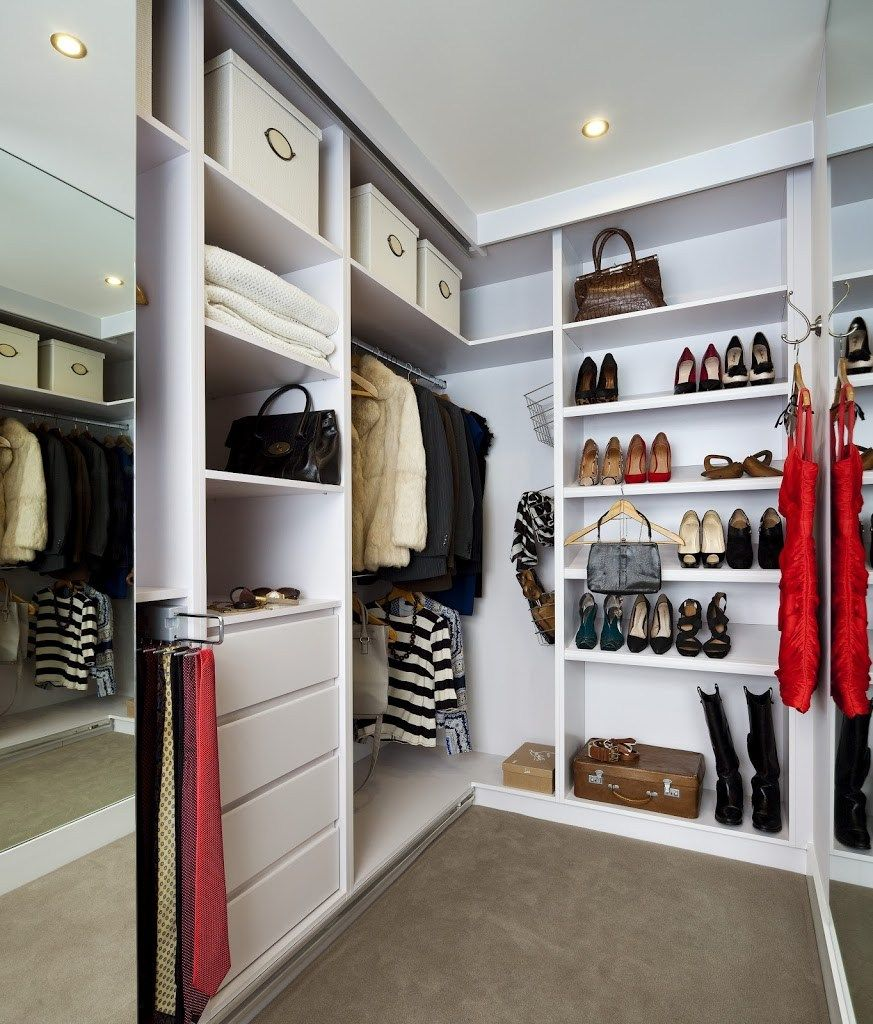 Successful modern interior design for the dressing room with l-shaped closet