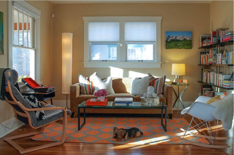 Typical classic design of the living room with rug and sofa