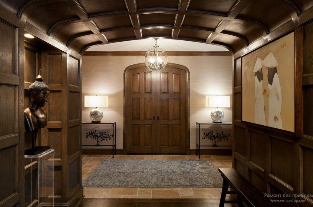 Dark wood for coffered ceiling and castle front door